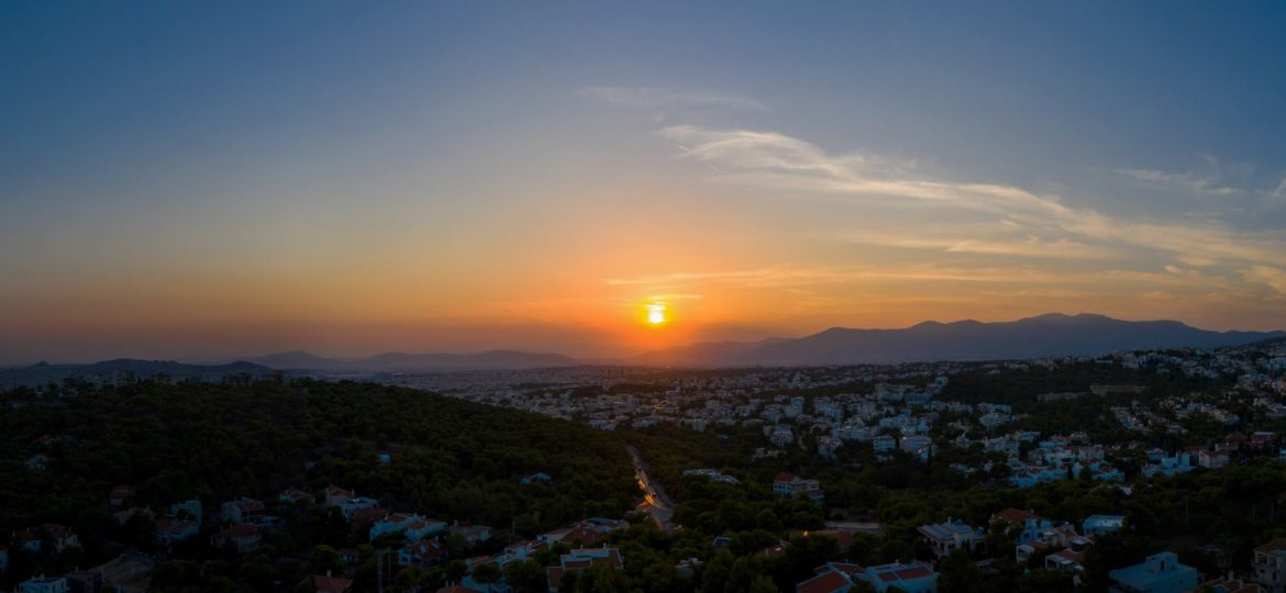 Athens Greece panorama. Aerial view of Athens city from Penteli mount